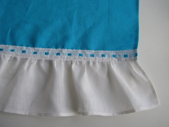 Turquoise Blue Valance Bright Blue Cafe Curtain With