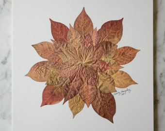 """Real pressed leaves, flower composition 