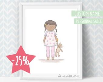 SALE Custom Nursery art, baby girl nursery decor, baby girl room prints, baby gift, custom name, baby nursery wall art