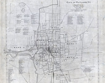 1910 Map of Rutland Vermont