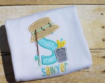 Fishing Alphabet Shirt for Boys - Applique Fishing Alphabet Shirt- Fishing Shirt- toddler Boy shirts- personalized- initial shirt- summer