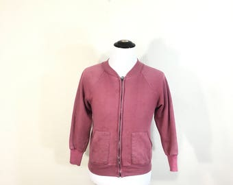 60's vintage full zip up sweatshirt with separate pocket red color