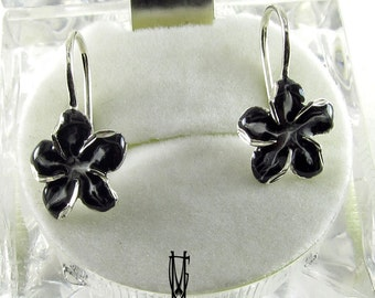 Enamel Earrings, Enamel Jewelry, Silver Stud Earrings, Black Flower  Earrings,Jewelry,  Black Silver Enamel Earrings, Enamel Jewelry
