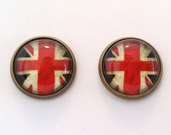 Brittish Flag  Earrings, Silver or Bronze, Stud or French Wire