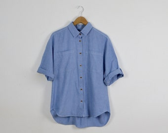 Vintage Chambray Shirt  |  Women's Vintage Denim Shirt  |  Ladies' Short Sleeved Chambray Blouse