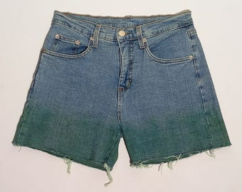 Stretch shorts, made in USA, 28US, tie-dye denim shorts, cutoff shorts, by Jeans In Motion #106