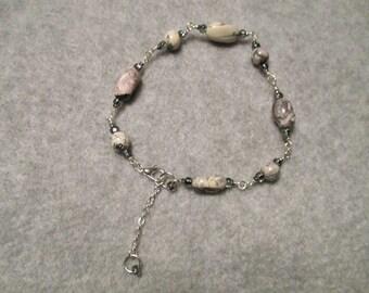 Porcelain Jasper Silver Wire Wrapped Bracelet