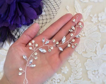 Hair Vine, Bridal Hair Vine, Wedding Hair Vine,  Bridal Hair Piece, Wedding Hair Piece, crystal hair vine, bridal hair accessory,