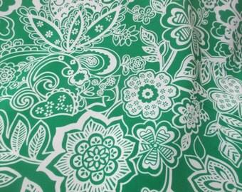 Green Floral Crepe De Chine Printed Dress Fabric. Price Per Metre!