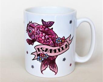 Tattoo Carp mug personalised name mug to order by TattooMugLady gift for her 18th birthday mug customised mug gift for mum child's mug