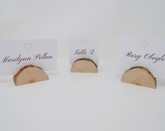 Set of 10 Rustic Wedding Cottonwood Log Card Holders