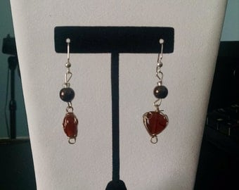 Amber and Brown Heart Earrings