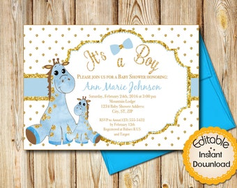 "Baby Shower Invitation, Boy, Blue and Gold Mamma and Baby Giraffe, INSTANT download, EDITABLE in Adobe Reader, DIY, Printable, 5""x7"""