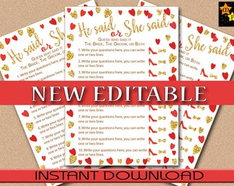 """He said, She said, Bridal Shower Game, Red and Gold Hearts, EDITABLE in Acrobat Reader, 5""""x7"""" game board, Instant Download, DIY, PDF"""
