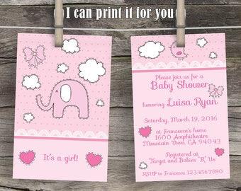 Elephant Baby Shower Invitation, baby girl shower invitation, babyshower invitation girl, its a girl babyshower, Baby Shower invite for girl