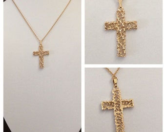 Vintage retro cross, gold cross, religious cross, authentic 1980's gold cross, men's cross, ladies cross