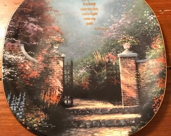 """Thomas Kinkade's """"Thy Word is a lamp"""" Collectible plate-Bradford Collection"""