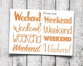 Orange Weekend Planner Stickers