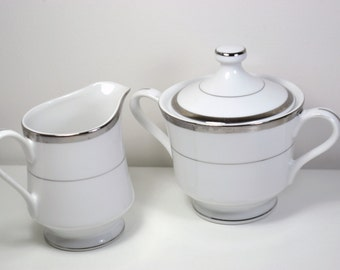 Sugar bowl and Creamer set,White and Silver rimmed,Fine china,set of two.