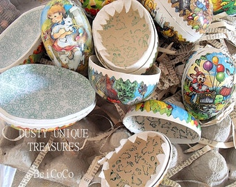8 antique paper mache eggs