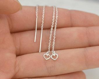 Threader Earrings, Tiny Heart threaders, Ear thread dangles, Pull-through earring, Her gift, Solid 925 Sterling silver, Tiny Heart dangles