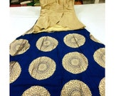 USA Blue Gold Indo western Lehenga choli ready made crop lehenga medium length blouse