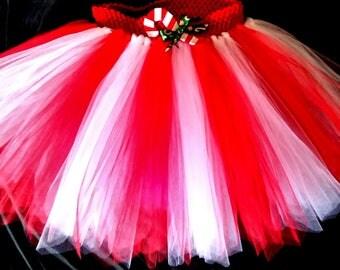 Candy cane tutu, Christmas, holiday skirt, pageant, Christmas pageant, xmas, peppermint tutu, red and white stripe tutu