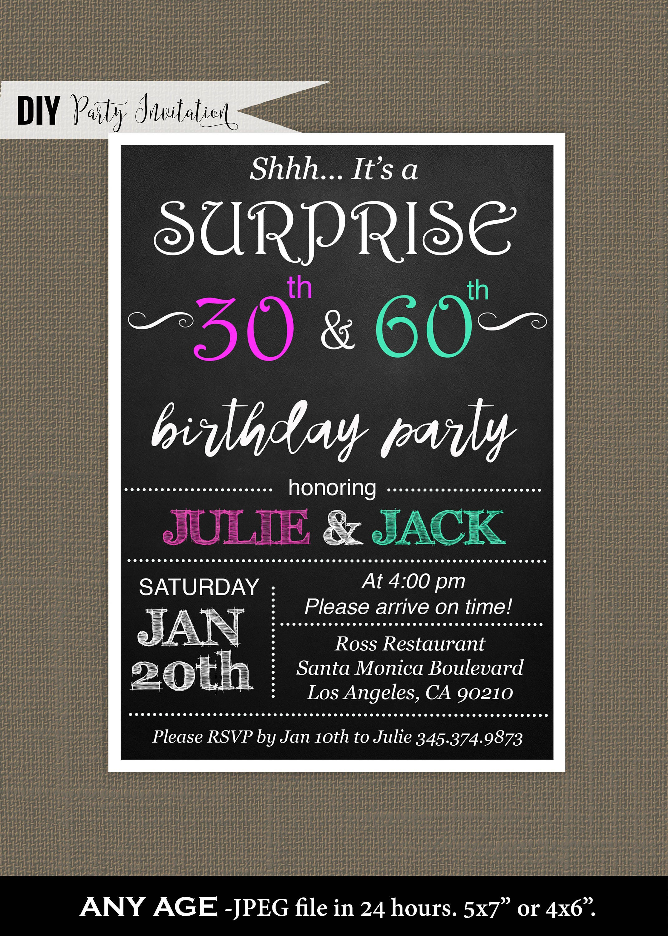 joint birthday joint birthday party invitations for adults surprise joint birthday party invite for adults joint invitation digital invitation