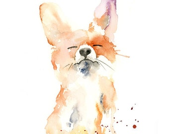 Proud Fox Watercolor Fine Art Print - modern wild animal art, watercolor fine art for fox lovers, playful fox watercolor painting