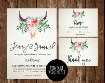 Antler wedding invitation, Boho Wedding Invitation Printable, rustic wedding, Spring wedding, Summer Wedding, Rustic Woodland