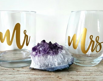 Mr and Mrs Whiskey Glass and Wine Glass, Wine and Whiskey, Mr and Mrs, Mr and Mrs Wine and Whiskey, Wedding Gift, Engagement Gift,Engagement