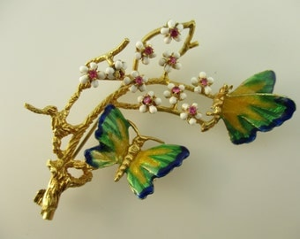 18K Yellow Gold Enamel and Ruby Butterflies and Flowers Brooch Italy