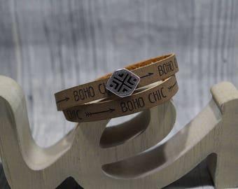 Wrap bracelet boho-chic with Schiebeperle