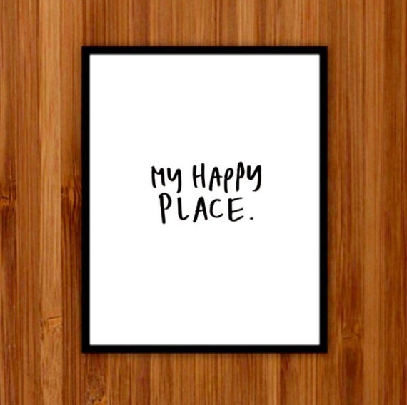 This is my happy place instant download, Printable Art, Wall Decor, Print, My Happy Place, Art Prints, Hand lettering, black and white print