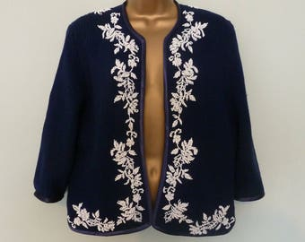 Vintage 1950/1960 Navy Wool Beaded Cardigan. Size 14-18
