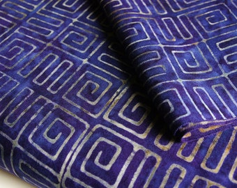 Purple Batik Fabric by 1/4 Metre, Fat Quarter, Rayon batik, Indonesian Batik, boho fabric, Handprinted Cantik Batik Aztec Purple Rayon