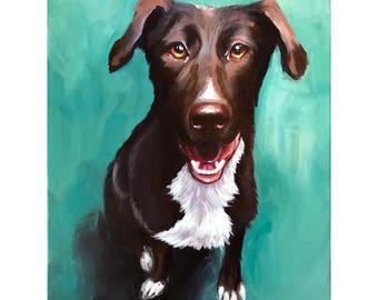 "German Shepherd Chocolate Lab Mix - Fine Art Giclee PRINT 8x10"" [Oil Painting, Dog Portrait, Pet]"