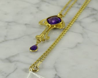 "Amethyst/Seed Pearl/14K Gold Necklace (22"")"