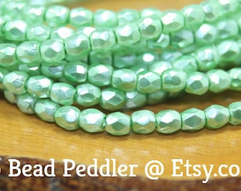3mm Czech Firepolish, Faceted Round, 50 Beads, Mint Green
