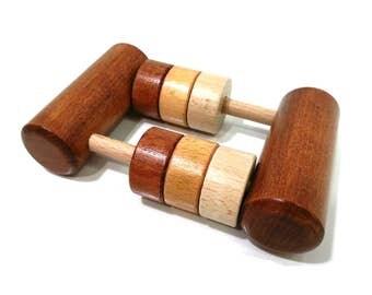 Rattle wooden rattle Montessori, dyed dark