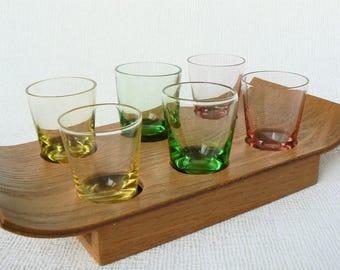 SHOT Glasses Vintage/ 6 Shot Vodka Glasses on Wooden Tray/ Colored Glass/ Vintage Drinks Serving/ Latvia 1970s (01)