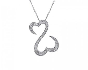 0.45 Carat Diamond Open Hearts Necklace 14K White Gold