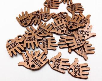 "25pcs Open Hand ""Handmade"" Charm Pendants - Craft Supply"