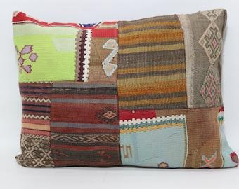 Patchwork Kilim Pillow 24x32 Turkish Chic Kilim Pillow Throw Pillow Boho Pillow Ethnic Pillow Cushion Cover SP6080-654