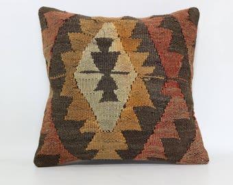 Geometric Kilim Pillow Sofa Pillow Handwoven Kilim Pillow 16x16 Turkish Kilim Pillow Chic Pillow Throw Pillow Cushion Cover SP4040-2330