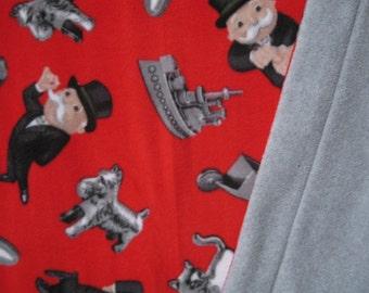 Monopoly Lovers Print Fleece With Light Gray Fleece On Reverse Sewn Fleece Blanket Or Throw