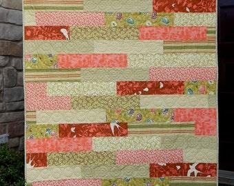 Modern Quilt, Lap Quilt, Orange Quilt, Green Quilt