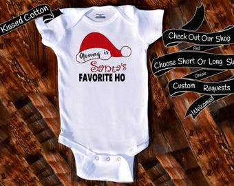 Baby Onesie Mommy is Santa's Favorite Ho Shower Gift Nursery Custom Clothing Infant Gerber Baby Bodysuit {K202}