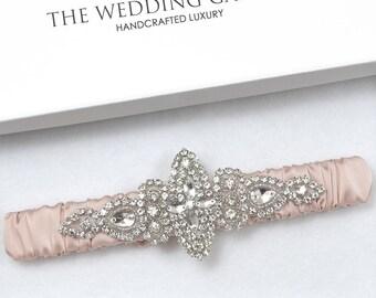 Pink Wedding Garter, Lace Garter, Ivory Garter, Blush Garter, Dusty Pink Garter, Bridal Garter Online, Rhinestone Garter, Garter For Wedding