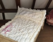 Vintage quilt miniature bed spread with Pillow sham (D4)